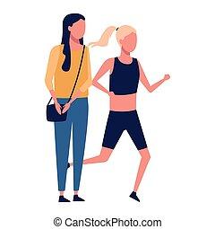 anoniem, meiden, sporten, excercise