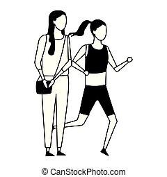 anoniem, meiden, sporten, excercise, zwart wit