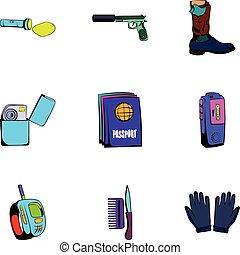 Anonym icons set, cartoon style