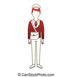 anonyme, facteur, lignes, deliveyr, dessin animé, rouges
