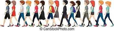 anonyme, marche, groupe, ligne, gens
