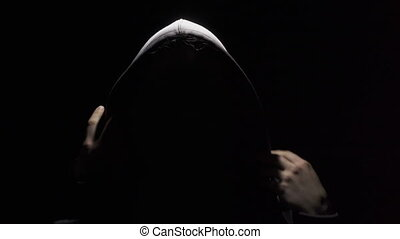 anonyme, ombre, porter, capuchon, vidéo