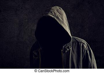 anonyme, sans, unrecognizable, identité, homme