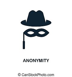 Anonymity icon. Monochrome style design from blockchain icon collection. UI and UX. Pixel perfect anonymity icon. For web design, apps, software, print usage.