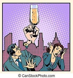 Anonymous alcoholics struggle with alcohol retro style pop art
