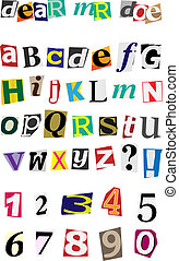 Anonymous Alphabet - Colorful Ripped Letters Isolated on...