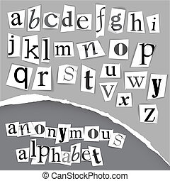 Anonymous alphabet made from newspapers - black and white detailed letters