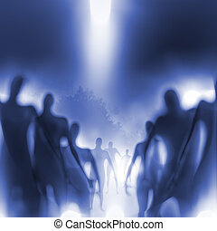 Grainy and blurry image of human-like beings approaching.