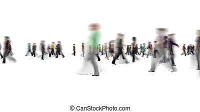 Anonymous blur crowd of people walking on white