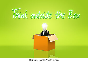 Anonymous businessman with think out side the box for...