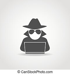 Anonymous Computer Icon - Black icon of anonymous spy agent...