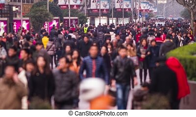 Anonymous crowds in Nanjing road - Time Lapse of anonymous...