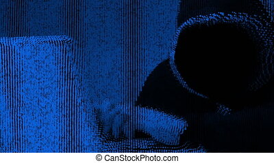 Anonymous hacker in black hood with a laptop. Blue