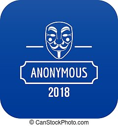 Anonymous icon blue vector