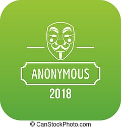 Anonymous icon green vector