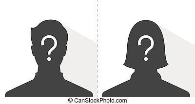 anonymous male and female profile picture emotion, silhouette profile avatar