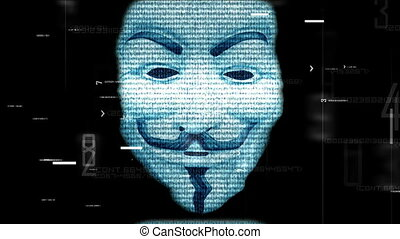 Anonymous mask on digital background