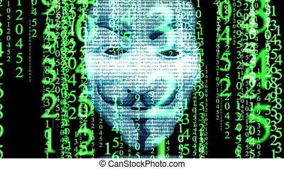 Anonymous mask on matrix background