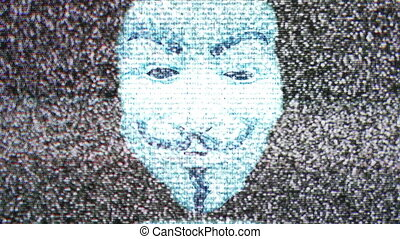 Anonymous mask on TV screen