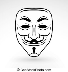 Anonymous mask vector icon. Hacker logo design. Criminal masquerade design background. Beard Jester illustration.