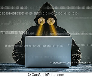 Anonymous person sitting behind laptop having gold bitcoins instead of eyes Virtual cryptocurrency concept.