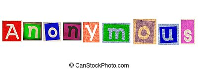 Anonymous signature text. - Anonymous text, clipart collage...