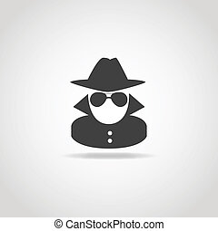 Black icon of anonymous spy agent.