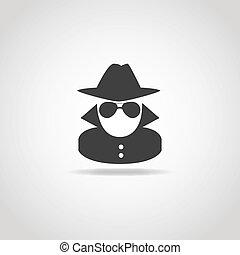 Anonymous Spy Icon - Black icon of anonymous spy agent.