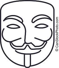 anonymous,mask carnival,hacker vector line icon, sign, illustration on background, editable strokes