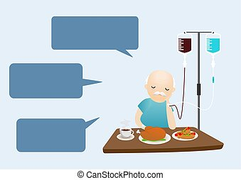 Old man unhappy to eat food. Bored with food. Oldman boring don't want to eat food. Vector, illustration