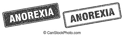 anorexia square stamp. anorexia grunge sign set