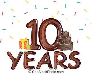 anos, 10, aniversário, celebração aniversário