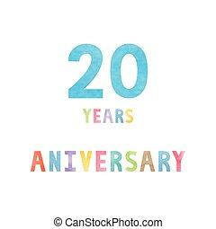 anos, 20, cartão aniversário, celebração