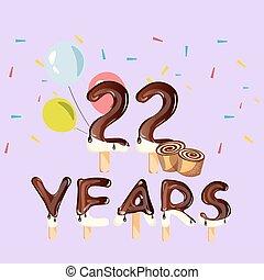 anos, 22, cartão aniversário, celebração