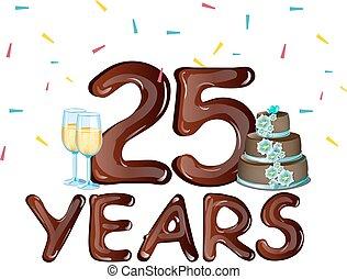 anos, 25th, cartão aniversário, celebração