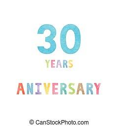 anos, 30, cartão aniversário, celebração
