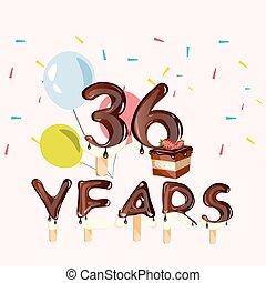 anos, 36, cartão aniversário, celebração