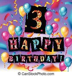 anos, 3th, celebração aniversário