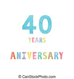 anos, 40, cartão aniversário, celebração