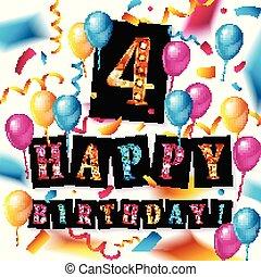 anos, 4th, celebração aniversário