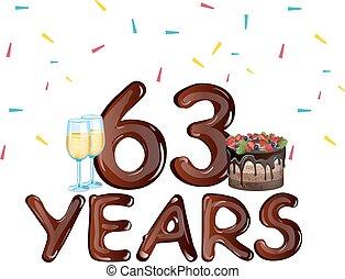 anos, 63, cartão aniversário, celebração