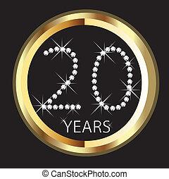 anos, aniversário, 20o, feliz