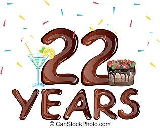 anos, aniversário, aniversário, 22, celebração