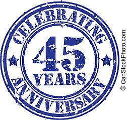 anos, celebrando, 45, gr, aniversário