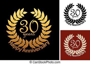 anos, jubileu, grinalda, aniversário, 30