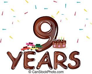 anos, nove, cartão aniversário, celebração
