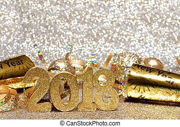 anos novos eve, 2018, dourado, números, e, decoração