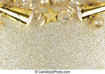 anos novos eve, borda, sobre, um, ouro, fundo