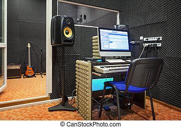 anotação som, estúdio, interior.