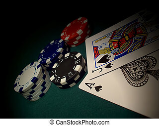 Another Blackjack - Red, blue, white, black poker chips on a...